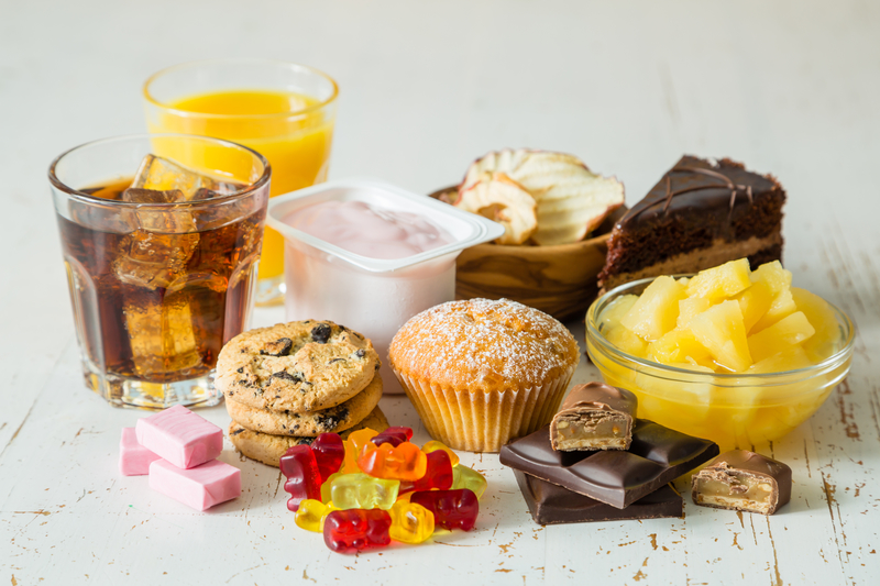 assortment of unhealthy foods and desserts