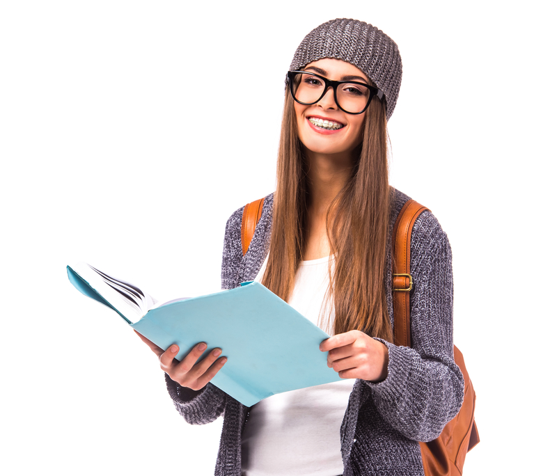 Young woman that has a backpack on and schoolbooks that is going back to school.